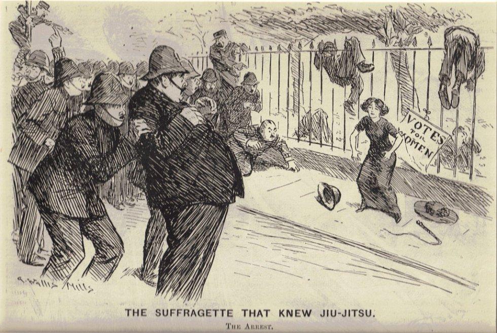 "Bartitsu – dobová satirická kresba znázorňuje ""suffrajitsu"", sufražetku znalou Jiu jitsu"