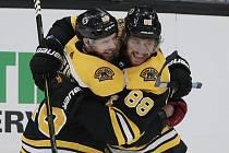 Hokejista Bostonu Bruins David Pastrňák (vpravo) se raduje ze svého gólu v utkání NHL se spoluhráčem Davidem Krejčím