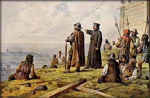 Jan Žižka a kněz Václav Koranda starší při setkání na Vítkově v představě malíře Josefa Mathausera