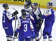 Hráči Slovenska se radují z vítězství
