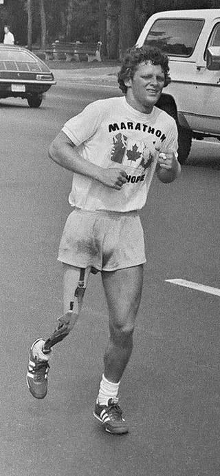 Terry Fox běží svůj Maraton naděje. Na cestu se vydal 12. dubna 1980