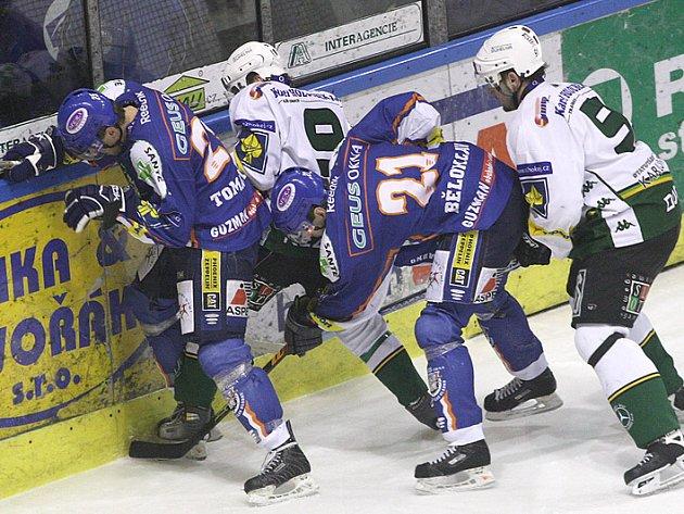 Hokejisté Kladna porazili Karlovy Vary 5:4 po samostatných nájezdech.