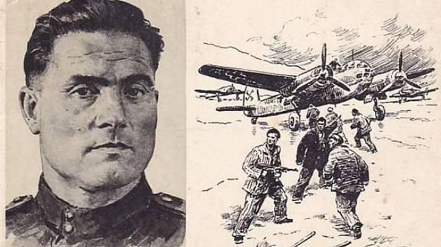 Iniciátor odvážného útěku Michail Devjatajev a okamžik únosu letadla zachycený na dobové pohlednici
