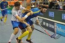 Čeští florbalisté v zápase proti Švédsku