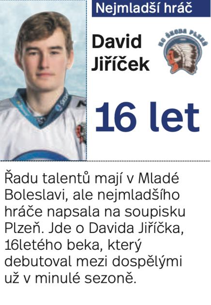 Nejmladší hráč extraligy David Jiříček.