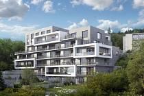 Stavební společnost PSJ postaví na jižním svahu vrchu Bohdalec v Praze 4 luxusní sedmipodlažní terasovitý viladům s 30 byty (na vizualizaci).