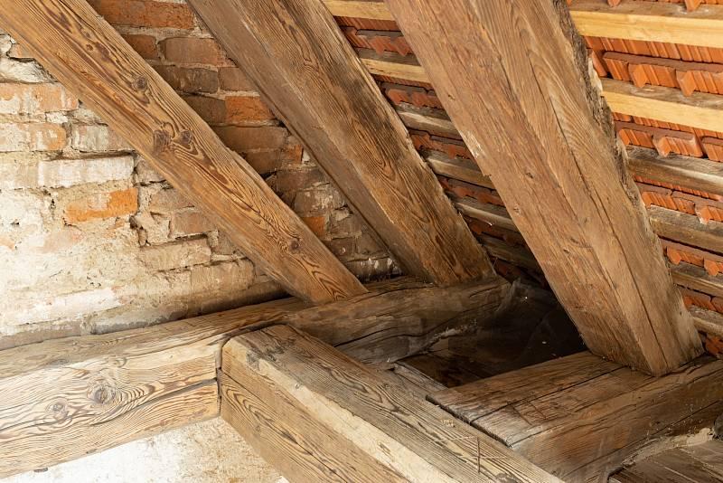 Při obhlídce domu zkontrolujte, v jakém stavu je dřevěný krov. Může být napadený dřevokazným hmyzem, houbami a plísněmi.