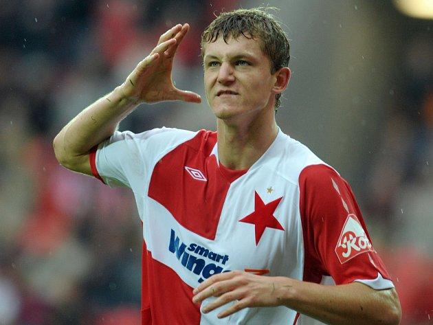 Tomáš Necid ze Slavie se proti Jablonci blýskl dvěma góly. Slavia zvítězila 2:0