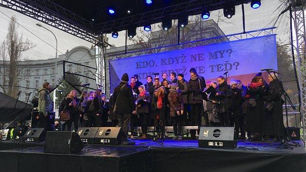Výročí 17. listopadu 1989, rok 2017, Albertov a Národní třída, Václavské náměstí