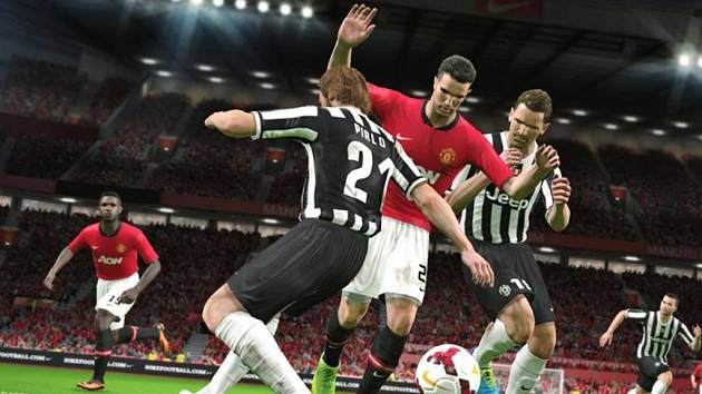 Počítačová hra Pro Evolution Soccer 2014.