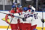 Český tým slaví gól na mistrovství světa v Bratislavě.