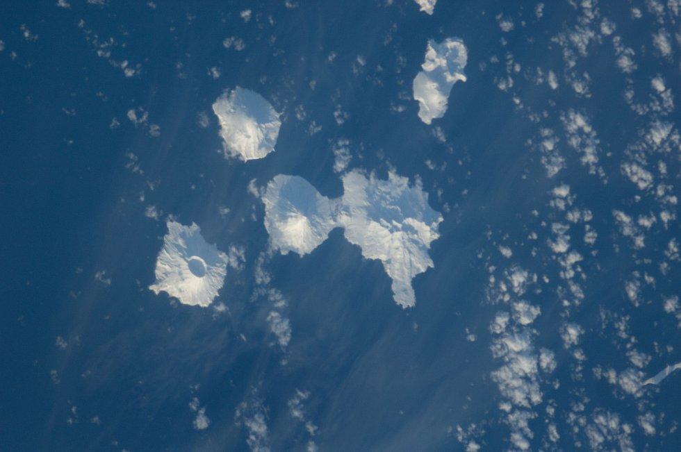 Sopky v oblasti Aleutských ostrovů