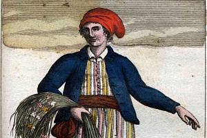 Jeanne Baretová (1740 až 1807) na portrétu od Cristofora Dall'Acquye (1734 až 1787)