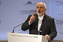 Íránský ministr zahraničí Mohammad Džavád Zaríf během projevu na bezpečnostní konferenci v Mnichově
