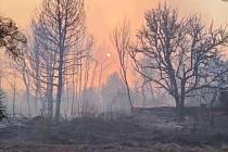 Lesní požáry v okolí někdejší jaderné elektrárny Černobyl