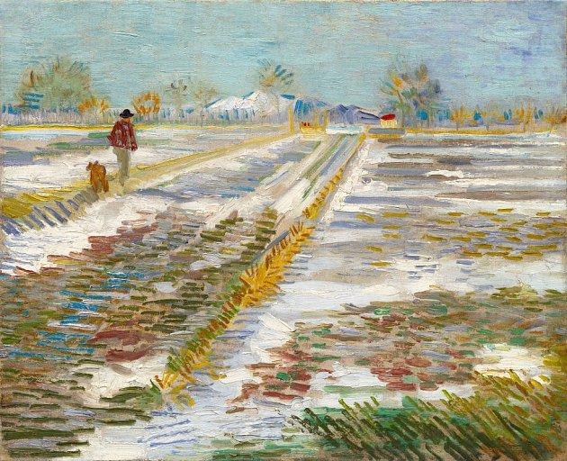 Obraz Vincenta van Gogha Krajina pod sněhem.