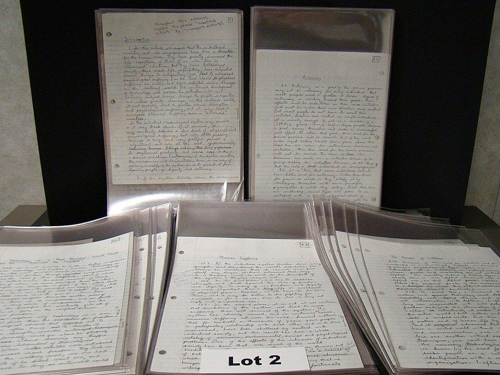 Ručně psaný Unabomberův deník, zajištěný po jeho zadržení