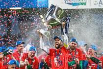 Oslavy fotbalového titulu v Plzni.