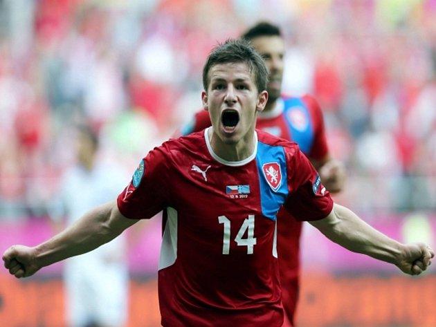 Václav Pilař se raduje z gólu proti Řecku.