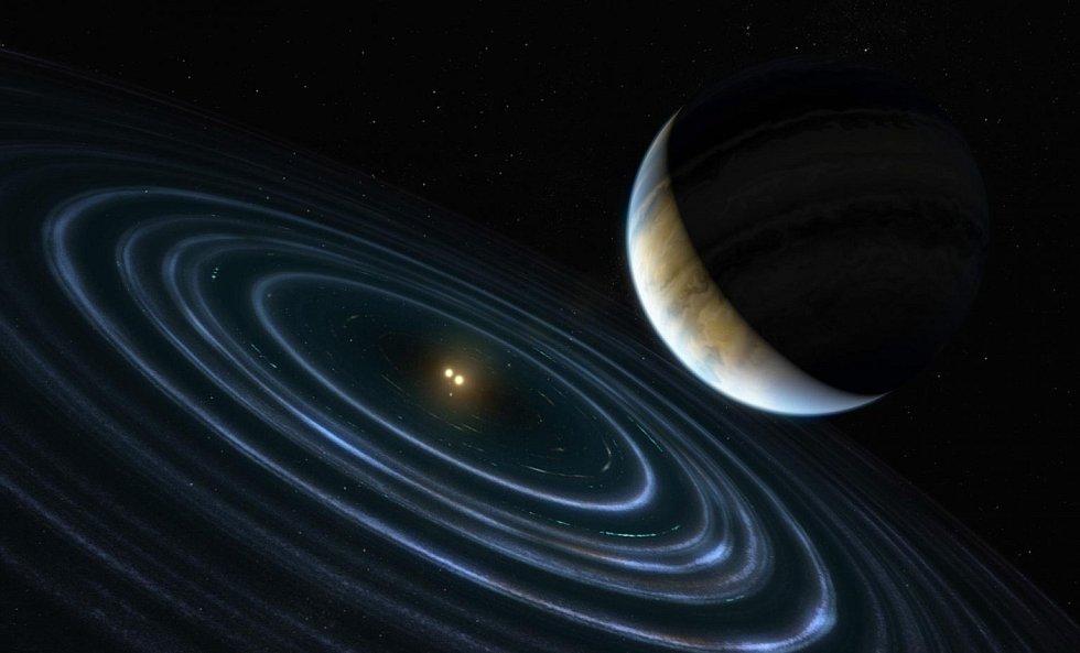 Umělecká představa exoplanety HD 106906 b nacházející se ve velké vzdálenosti od centrální binární hvězdy a disku prachového materiálu, který ji obklopuje