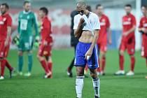 Zklamaný boleslavský Douglas Da Silva po zápase s Brnem.
