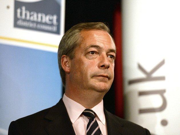 Předseda Strany nezávislosti Spojeného království (UKIP) Nigel Farage.