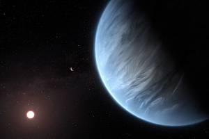 Exoplaneta K2 18b, zobrazená v popředí, může být první planetou nalezenou v jiné hvězdné soustavě, v jejíž atmosféře nechybí voda, mraky a déšť