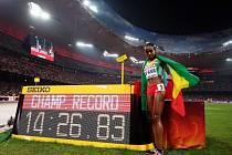 Almaz Ayanaová z Etiopie a její radost
