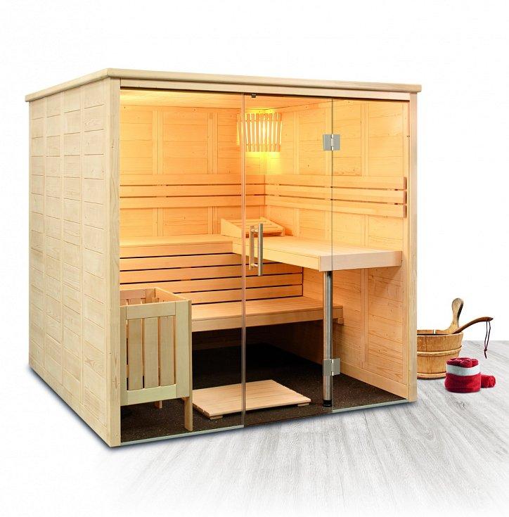 Kabina finské sauny Freya je vyrobena ze smrkového dřeva. www.mountfield.cz