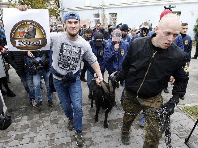 Demonstrace proti výrokům Miloše Zemana v Kyjevě.