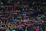 Fotbalové utkání HET ligy mezi celky AC Sparta Praha a SK Slavia Praha 17. března v Praze. Fanoušci Sparty.