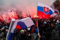 Protest před úřadem vlády v Bratislavě