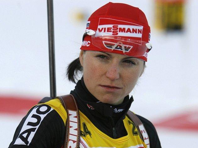 Německá biatlonistka Andrea Henkelová při tréninku na sobotní závod ve sprintu.