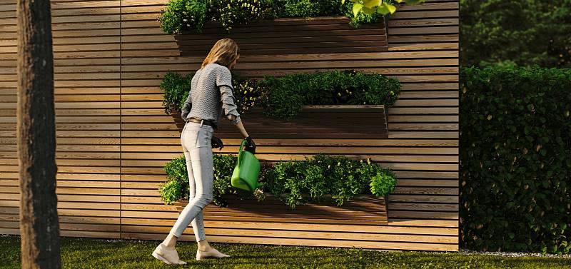 Multifunkční plot, ze kterého vyklopíte velké truhlíky s odtokem přebytečné vody. Po sezoně truhlíky zase pohodlně zaklopíte.