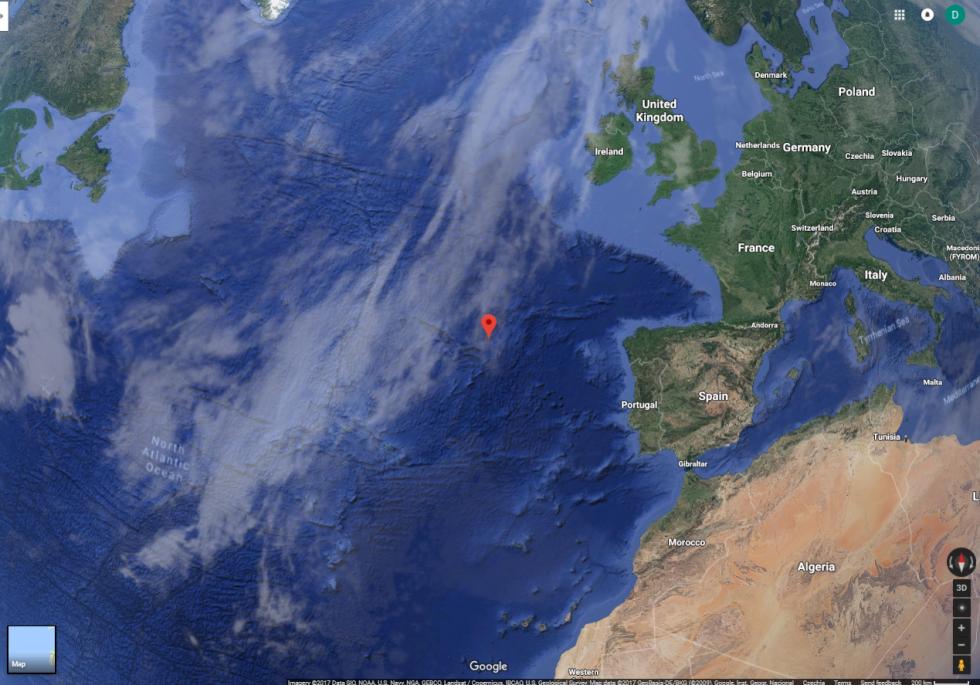 Místo v Atlantiku, kde čeští letci potopili německou loď Alsterufer