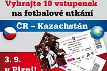 Vyhrajte 10 vstupenek na fotbalové utkání ČR – Kazachstán, 3. 9 v Plzni!