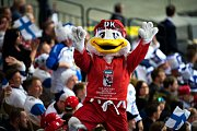 Maskot hokejového mistrovství světa 2018 v Dánsku - kačer Duckly