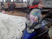 Černá hora v Krkonoších: výroba sněhu v červenci
