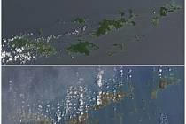 Panenské ostrovy před a po řádění hurikánu