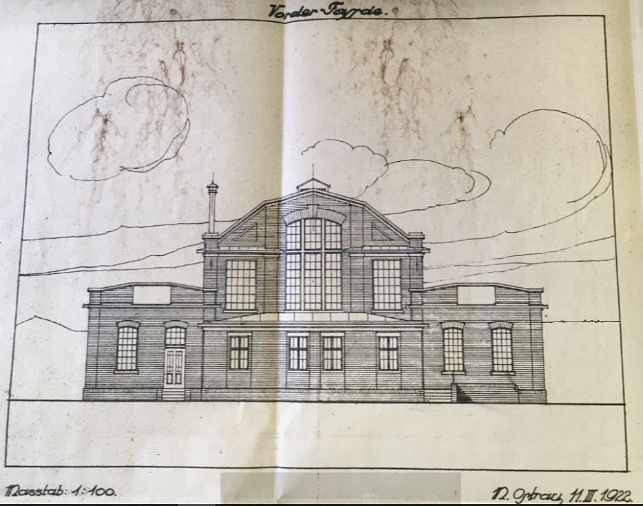 Plán novostavby budovy koupelen z roku 1922