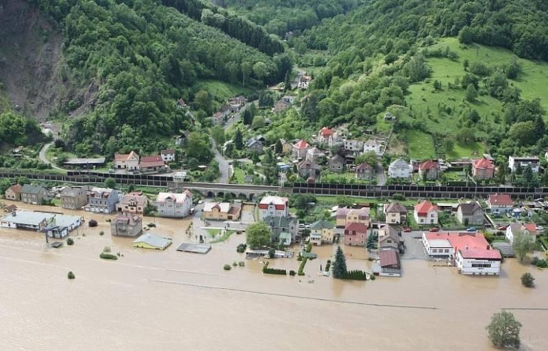 Povodeň na Děčínsku v roce 2013.