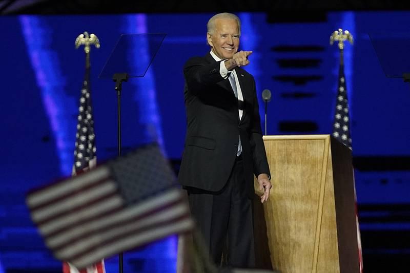 Demokrat Joe Biden během prvního vystoupení po zvolení prezidentem USA, 7. listopadu 2020 ve Wilmingtonu