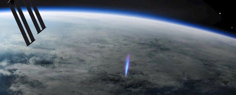 Umělecká představa modrého záblesku v ionosféře nad mraky