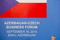 Prezident Miloš Zeman zahájil 16. září v Baku česko-ázerbájdžánský podnikatelský seminář.