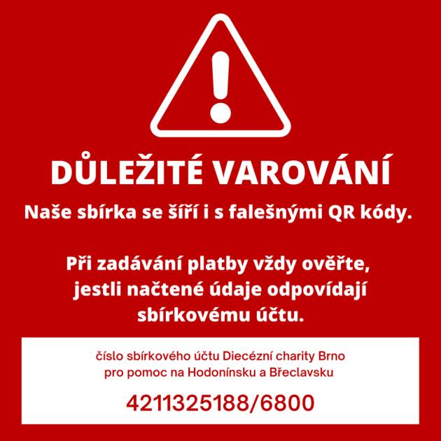 Upozornění od charity Brno