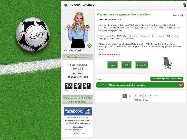 Počítačová hra Soccer Manager.