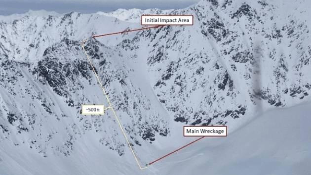 Fotografie znázorňuje místo, kde vrtulník narazil do hory poblíž ledovce Knik. Poté se řítil několik set metrů dolů po svahu dolů.