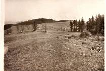Pohled na vypálené Paseky v roce 1945