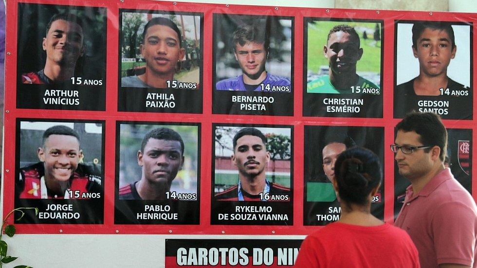 Mladí fotbalisté Flamenga, kteří tragicky zahynuli při požáru tréninkového centra.