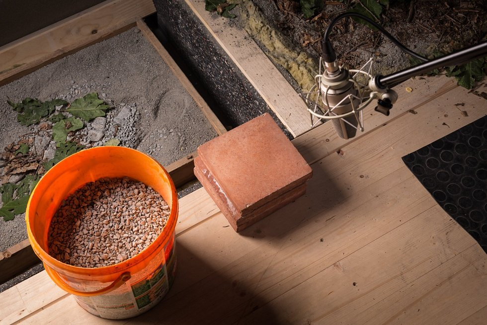 Ve studiu se občas dějí nevídané věci: buší se holí do hlávky zelí, šoupe předměty, kroucení paličkou v otvoru vyrábí vrzání dveří a pásky ze starého magnetofonu suplují šustot rostlin.